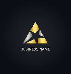 star triangle gold logo vector image