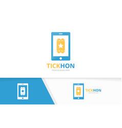 Ticket and phone logo combination ducket vector