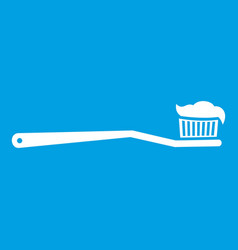 toothbrush icon white vector image