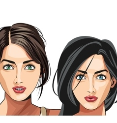 two gils beauty fashion model vector image