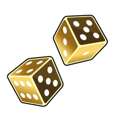 Two Golden Dice Cubes on White Background vector