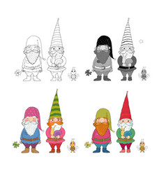 two old garden gnomes and a bee forest elves vector image
