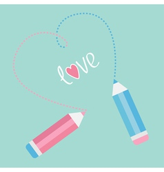 Two pencils drawing dash heart Love card vector image