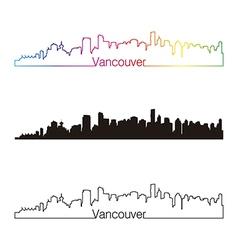 Vancouver skyline linear style with rainbow vector