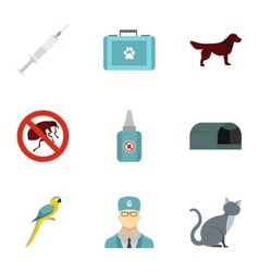Veterinarian icons set flat style vector