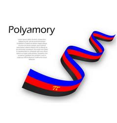 Waving ribbon or banner with polyamory pride flag vector