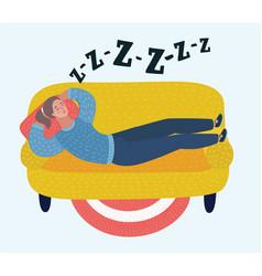 woman sleep on sofa in room dreaming girl flat vector image