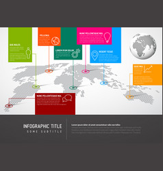 world map with pointer marks and iconsconcept vector image