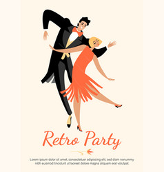 Young happy couple in vintage costumes dance vector