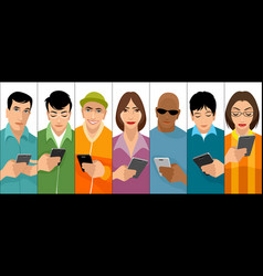 young people with cell phones vector image