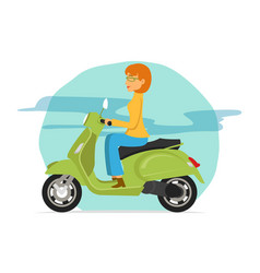 young women riding green scooter motorcycle vector image