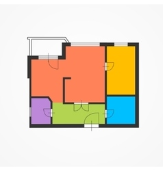 Architect Colorful Floor Plan vector image vector image