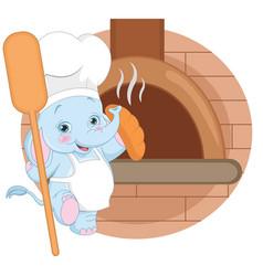 cartoon baker elephant vector image