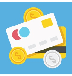 Credit Cards and Coins Icon vector image vector image