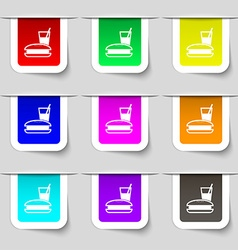 Lunch box icon sign set of multicolored modern vector