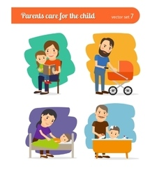 Parents care for the child vector image