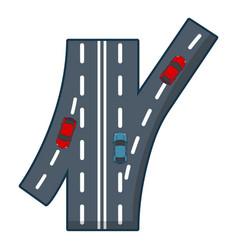 road junction icon cartoon style vector image vector image