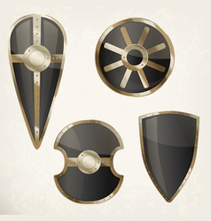 set of isolated shields icons or heraldic sign vector image vector image