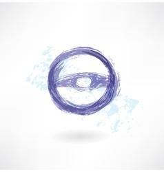 steering wheel grunge icon vector image