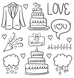 Doodle of element wedding hand draw style vector