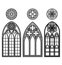 Gothic windows of cathedrals vector image vector image