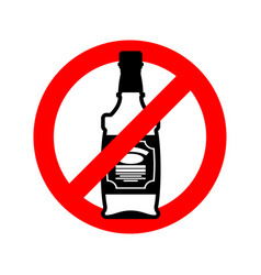 stop alcohol bottle of whiskey on red circle road vector image