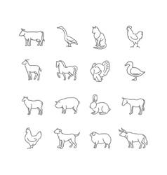 thin line farm animals icons set vector image