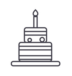 birthday cake line icon sign vector image vector image