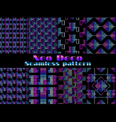 neo deco seamless pattern neon gradient vector image vector image