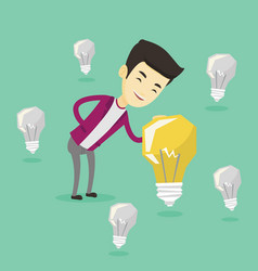 asian businessman having business idea vector image vector image