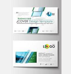 business card templates flat design blue color vector image