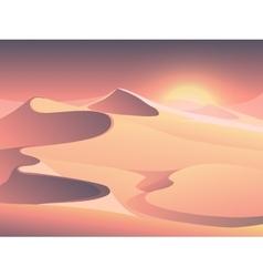 Desert sunset landscape with sand dunes vector image