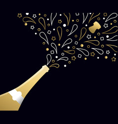 happy new year 2018 gold party drink bottle splash vector image vector image