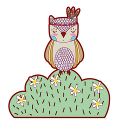 Line color ethnic owl animal in bursh with flowers vector