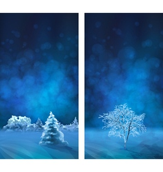 Watercolor Winter Night Banners vector image