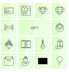 14 gift icons vector image