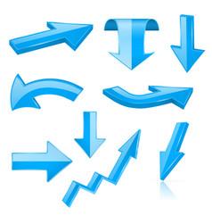 3d arrows blue signs and symbols vector