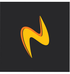 abstract letter n thunder shape simple curves logo vector image