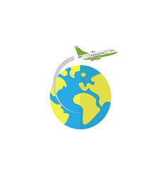 airplane flying around earth flat icon vector image