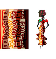 Ankara clothing woman african print fabric ethnic vector