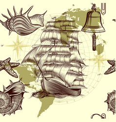 antique pattern with ship shells and map vector image