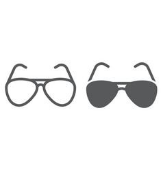 Aviator sunglasses line and glyph icon travel and vector
