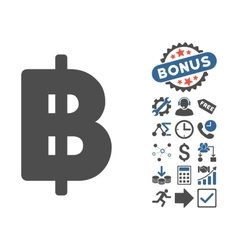 Baht flat icon with bonus vector