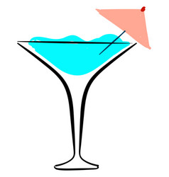 blue cocktail on white background vector image