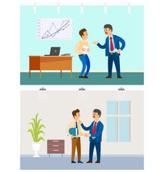 boss and employee relationship bad or good job vector image