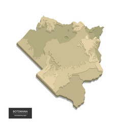 Botswana map - 3d digital high-altitude vector