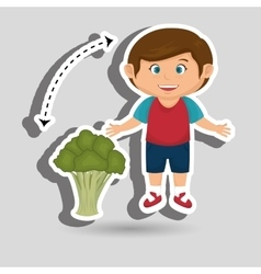 Boy cartoon broccoli vegetable vector