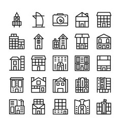 Buildings landmarks line icons 5 vector