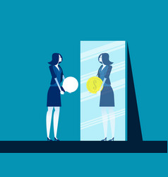Businesswoman with ideas while mirror reflecting vector