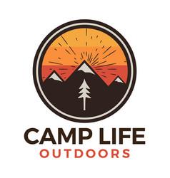 Camp life outdoors logo retro camping adventure vector